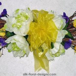 Spring Twig Swag with Peonies and Pansies